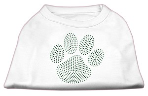 Green Paw Rhinestud Shirts White M (12)
